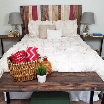 Photo showing how you can use a DIY rustic headboard