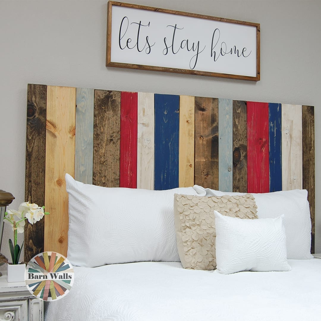 Our Americana Mix Headboard is a subtle play on the American flag with red, white and blue stripes with a little wood added for a natural element.