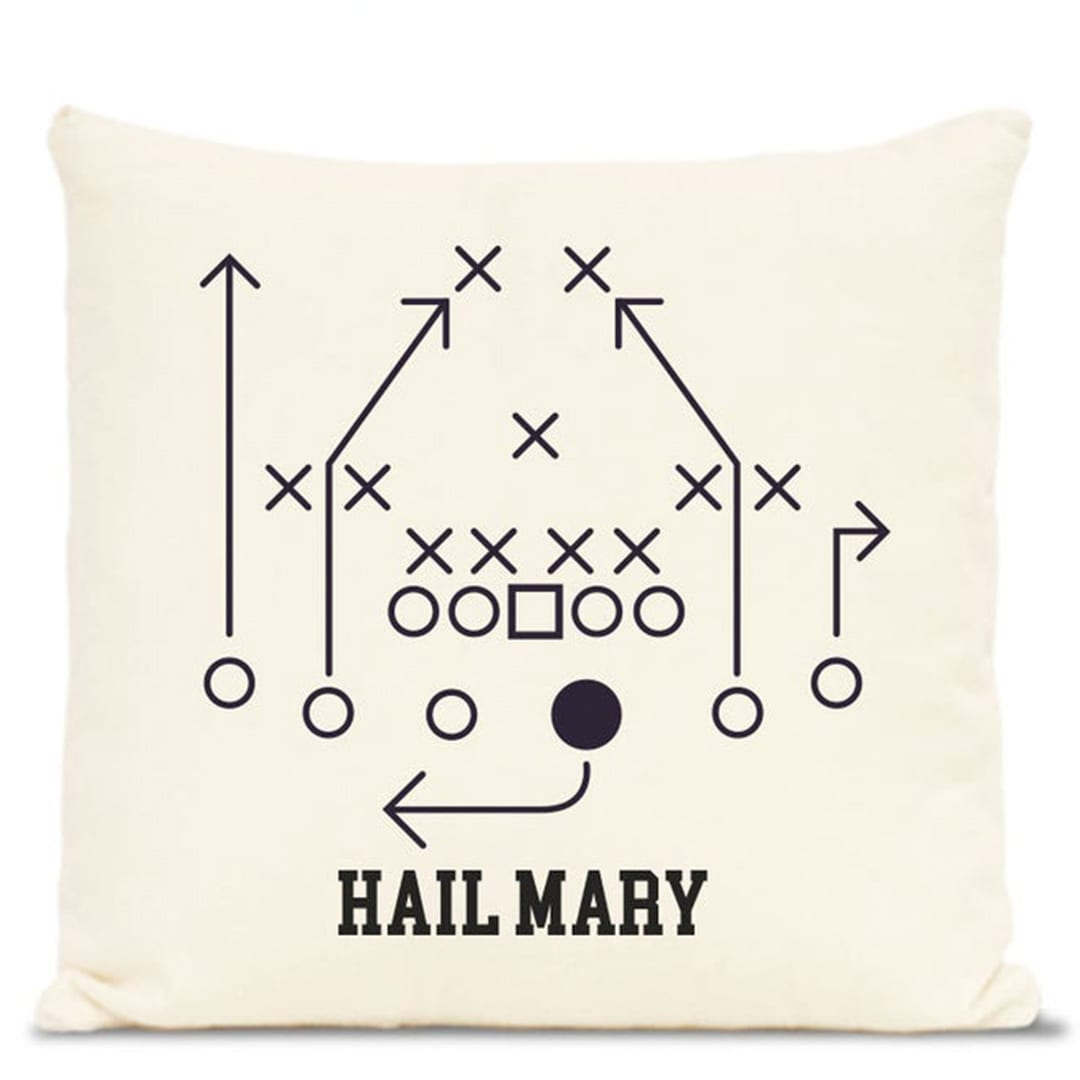 Love this playbook inspired throw pillow. Get it on Etsy.