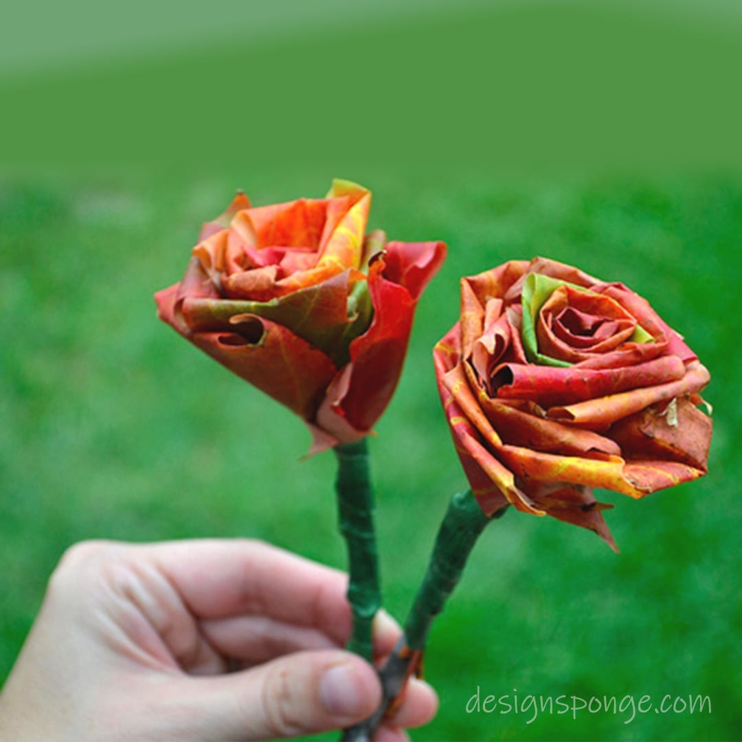 You can make roses with fall leaves, put them in a vase
