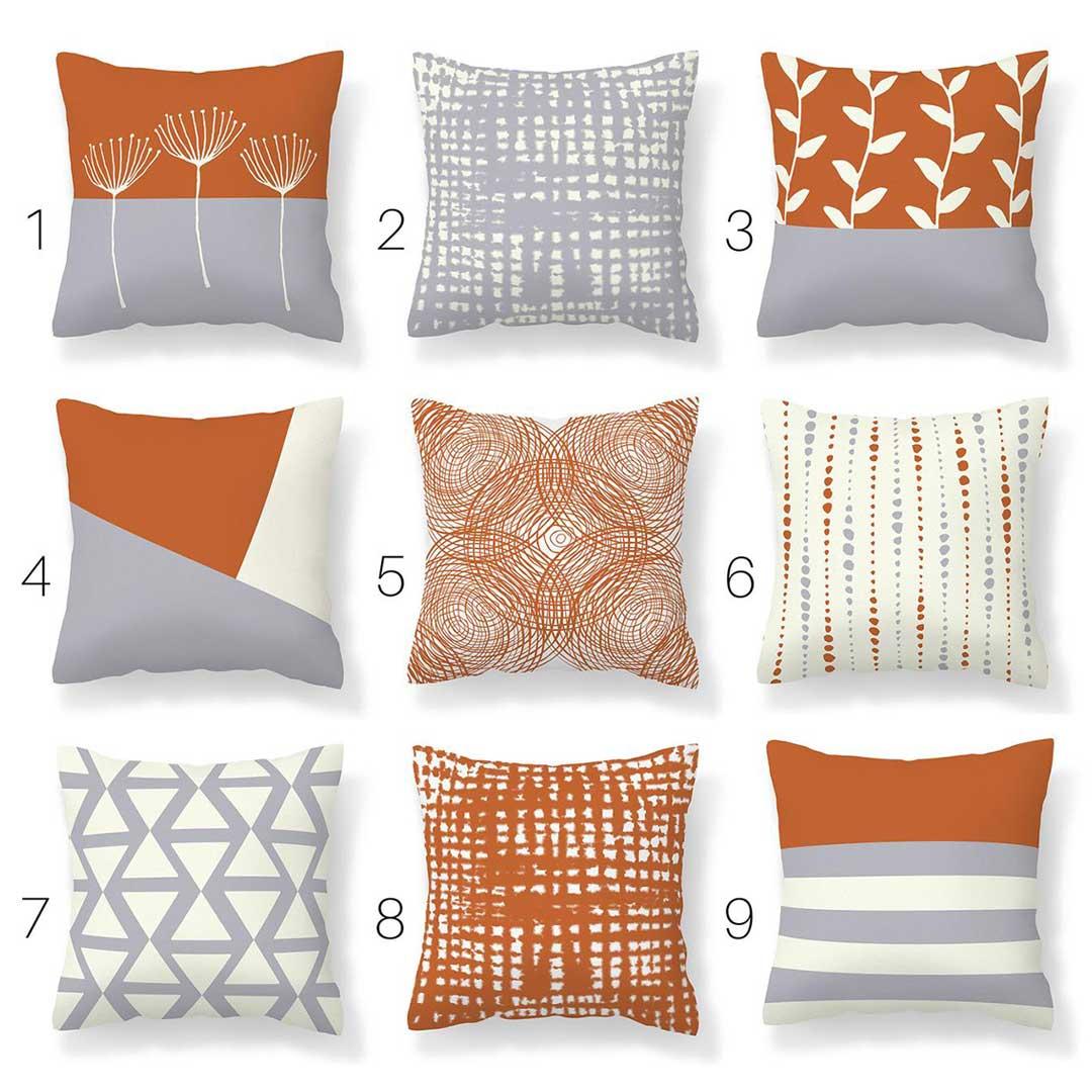 Orange and Grey Pillows - A Subtle Nod to Fall Decor